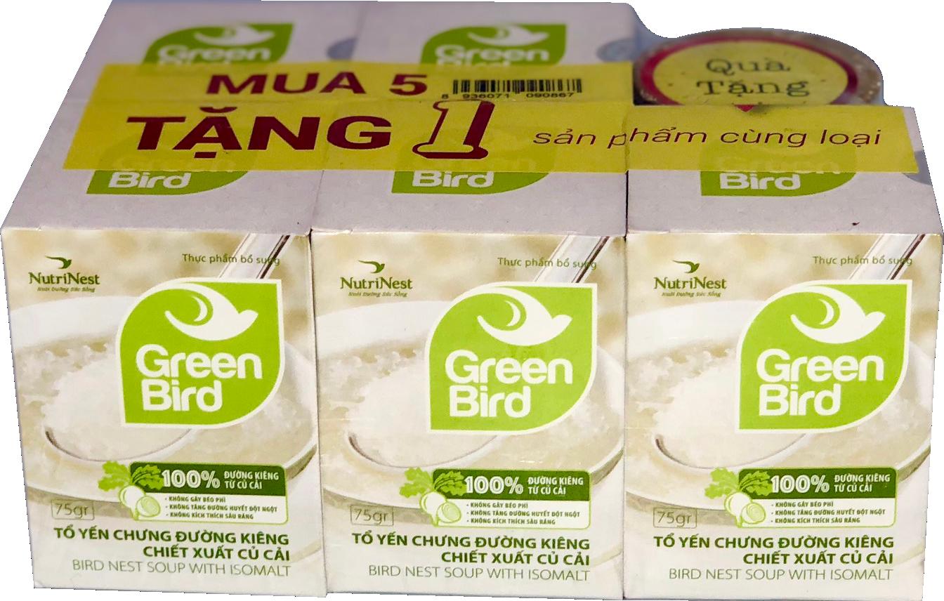 Nước tổ yến sào Green Bird chưng đường ăn kiêng - mua 5 tặng 1 hũ 75gr