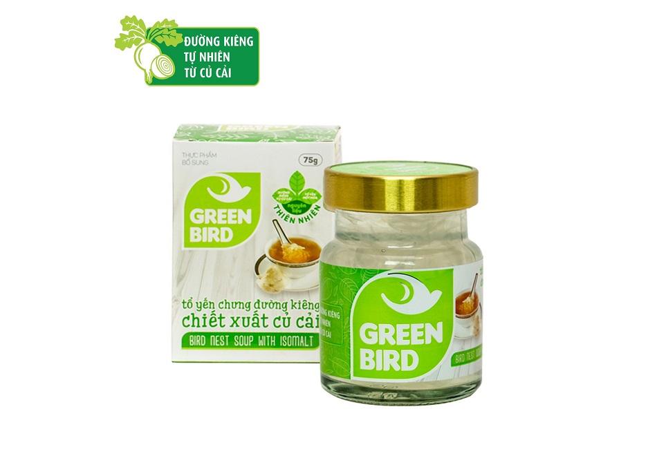 Nước tổ yến sào Green Bird chưng đường ăn kiêng - hũ đơn 75gr