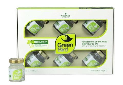 Nước tổ yến sào Green Bird chưng đường ăn kiêng - hộp quà 6 hũ 75gr