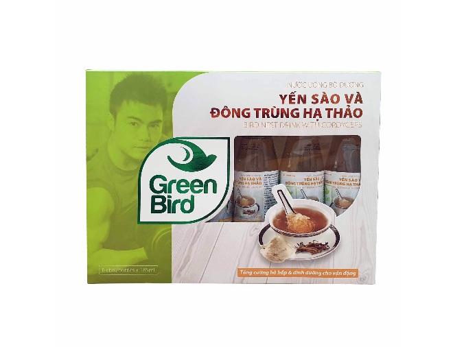 Nước Tổ Yến Sào & Đông Trùng Hạ Thảo Green Bird – Hộp quà 6 chai 185ml